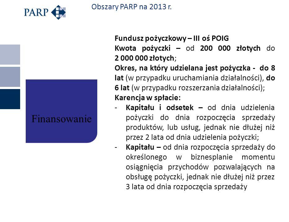 Obszary PARP na 2013 r. Fundusz pożyczkowy – III oś POIG Kwota pożyczki – od 200 000 złotych do 2 000 000 złotych; Okres, na który udzielana jest poży