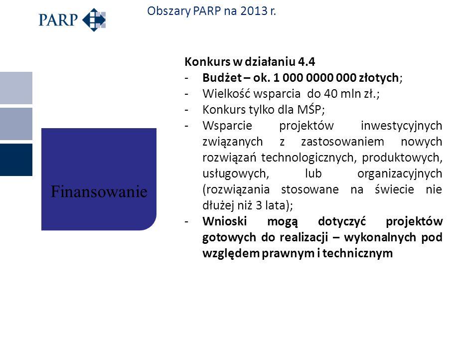 Obszary PARP na 2013 r. Konkurs w działaniu 4.4 -Budżet – ok. 1 000 0000 000 złotych; -Wielkość wsparcia do 40 mln zł.; -Konkurs tylko dla MŚP; -Wspar