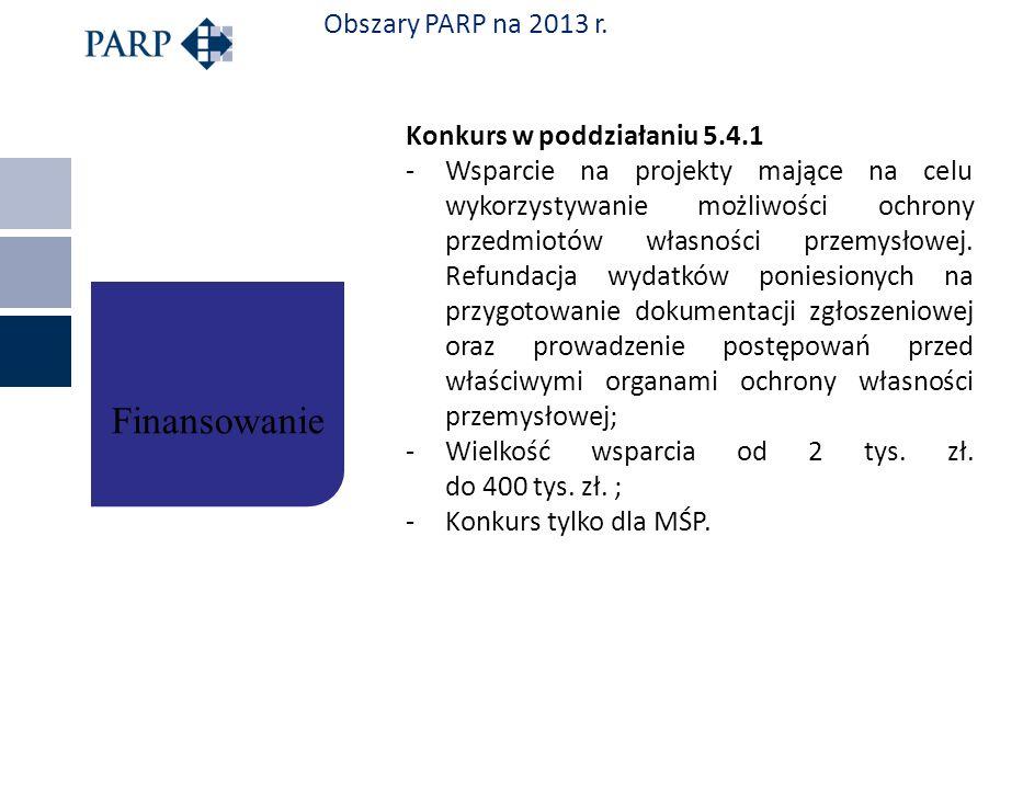Obszary PARP na 2013 r. Konkurs w poddziałaniu 5.4.1 -Wsparcie na projekty mające na celu wykorzystywanie możliwości ochrony przedmiotów własności prz