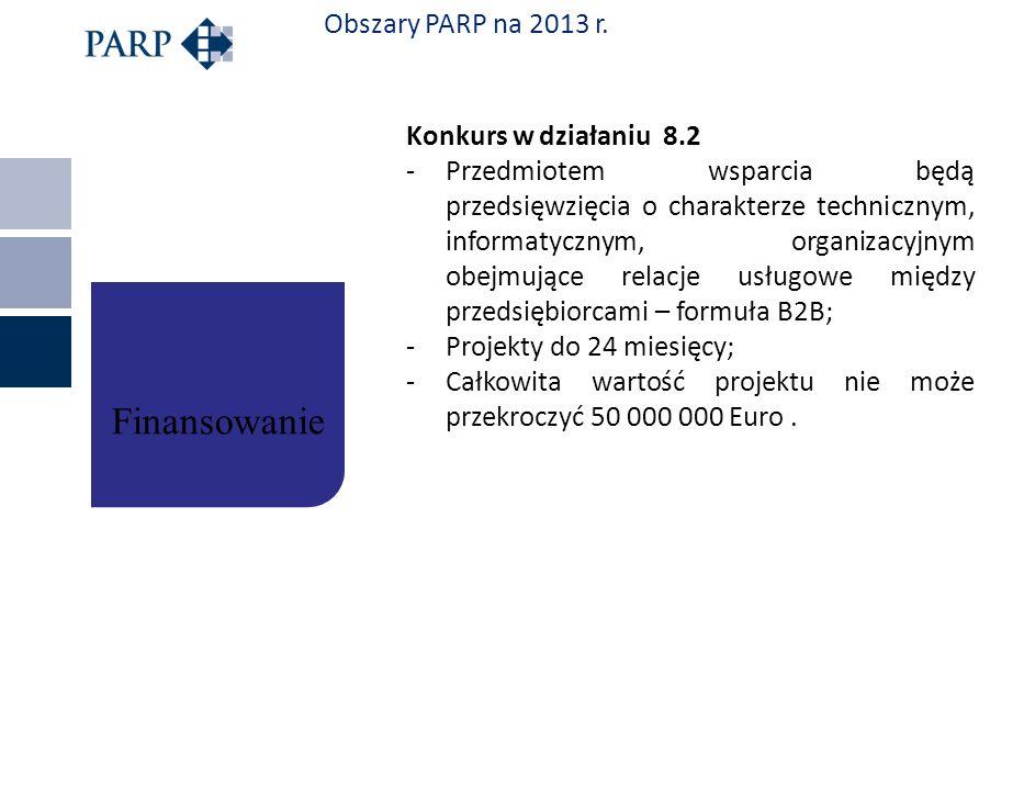 Obszary PARP na 2013 r. Konkurs w działaniu 8.2 -Przedmiotem wsparcia będą przedsięwzięcia o charakterze technicznym, informatycznym, organizacyjnym o