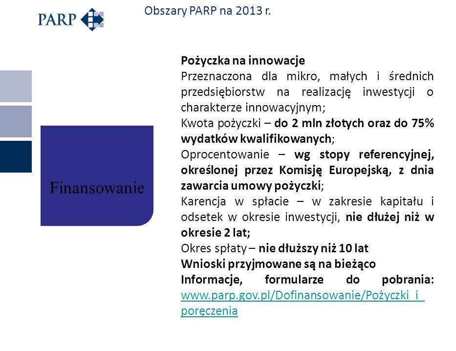 Obszary PARP na 2013 r. Pożyczka na innowacje Przeznaczona dla mikro, małych i średnich przedsiębiorstw na realizację inwestycji o charakterze innowac