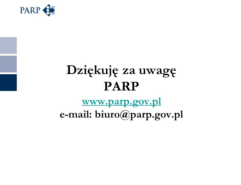 Dziękuję za uwagę PARP www.parp.gov.pl e-mail: biuro@parp.gov.pl www.parp.gov.pl