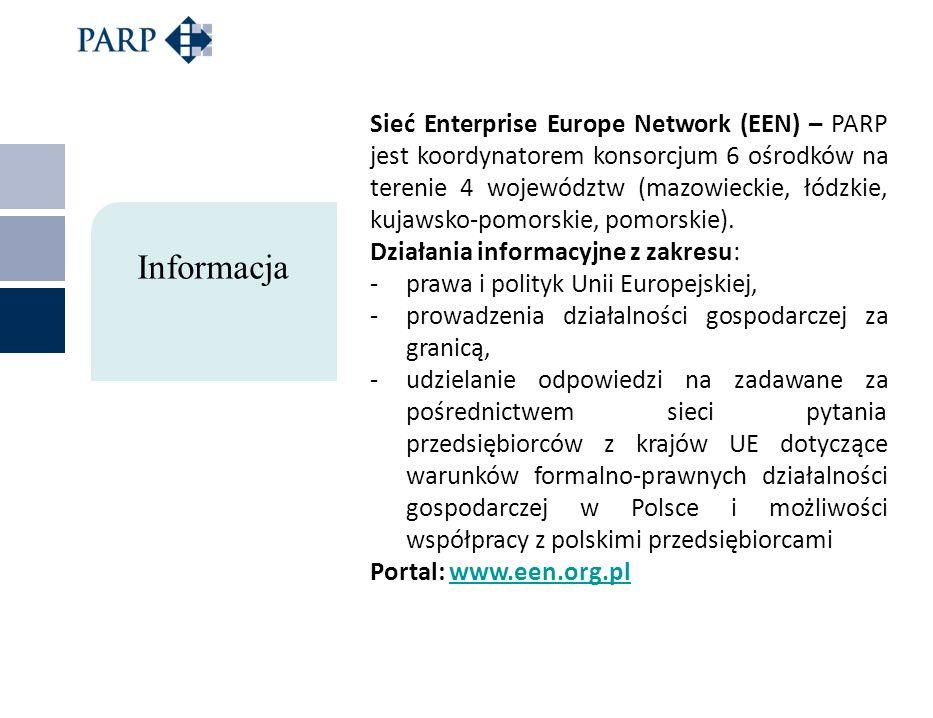 Sieć Enterprise Europe Network (EEN) – PARP jest koordynatorem konsorcjum 6 ośrodków na terenie 4 województw (mazowieckie, łódzkie, kujawsko-pomorskie