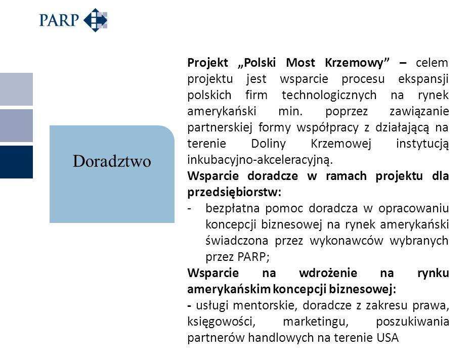 Projekt Polski Most Krzemowy – celem projektu jest wsparcie procesu ekspansji polskich firm technologicznych na rynek amerykański min. poprzez zawiąza