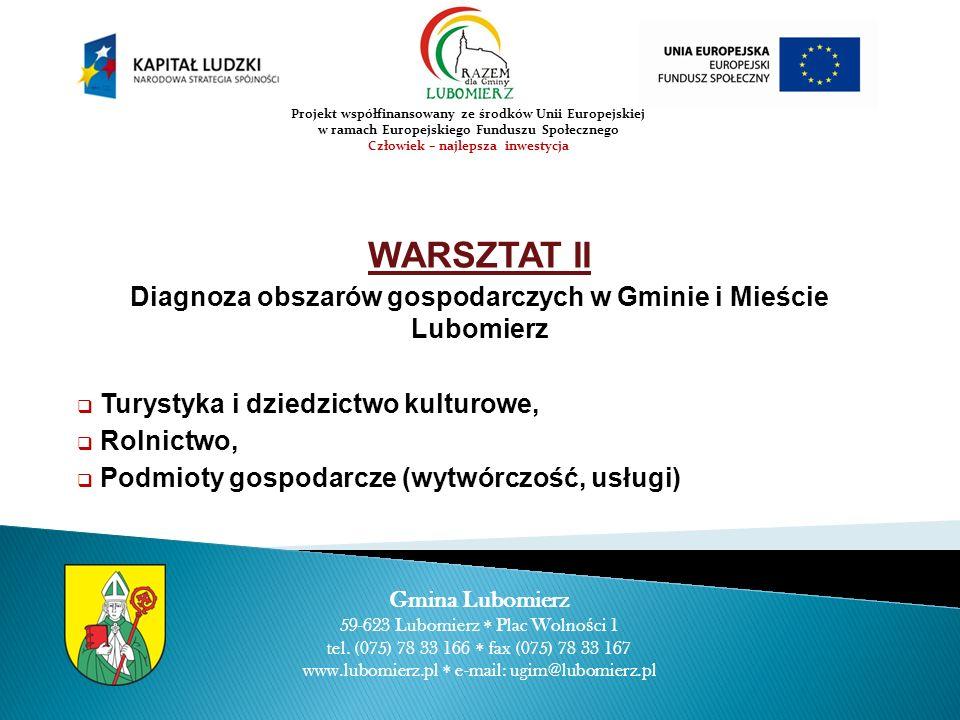 WARSZTAT II Diagnoza obszarów gospodarczych w Gminie i Mieście Lubomierz Turystyka i dziedzictwo kulturowe, Rolnictwo, Podmioty gospodarcze (wytwórczo