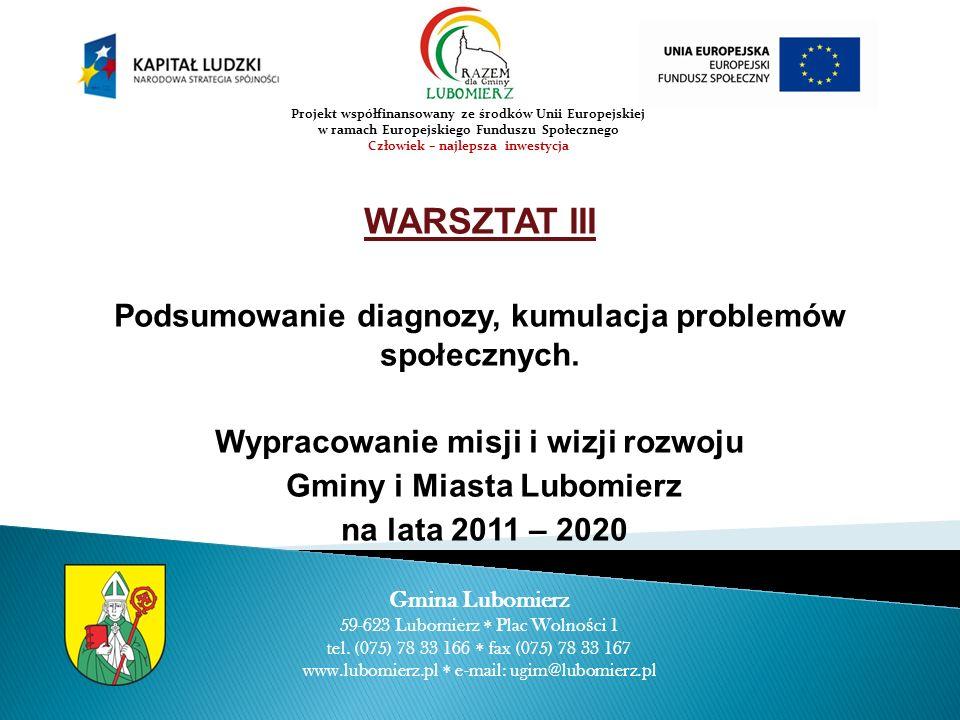 WARSZTAT III Podsumowanie diagnozy, kumulacja problemów społecznych. Wypracowanie misji i wizji rozwoju Gminy i Miasta Lubomierz na lata 2011 – 2020 G