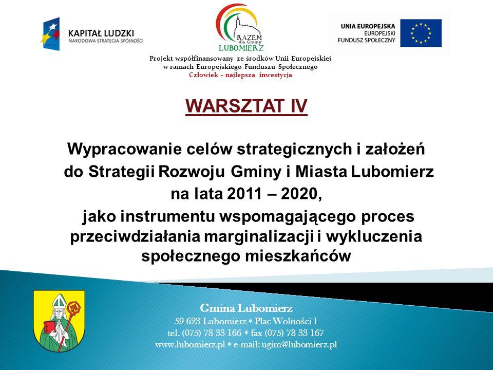 WARSZTAT IV Wypracowanie celów strategicznych i założeń do Strategii Rozwoju Gminy i Miasta Lubomierz na lata 2011 – 2020, jako instrumentu wspomagają