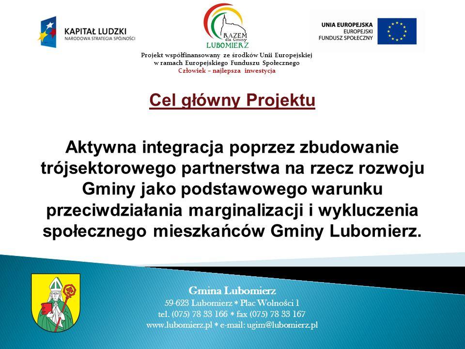 Cele szczegółowe Włączenie mieszkańców w proces decyzyjny w zakresie planowania procesu rozwoju Gminy, Wsparcie lokalnej społeczności poprzez zaspokojenie potrzeb samorealizacji i przynależności, Przeciwdziałanie procesom marginalizacji, Budowanie więzi partnerskich pomiędzy przedstawicielami sektorów; publicznego, gospodarczego i społecznego w procesie diagnozowania i rozwiązywania problemów społecznych Gminy Gmina Lubomierz 59-623 Lubomierz Plac Wolno ś ci 1 tel.