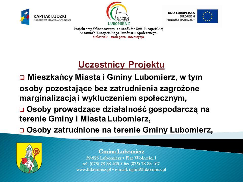 Uczestnicy Projektu Mieszkańcy Miasta i Gminy Lubomierz, w tym osoby pozostające bez zatrudnienia zagrożone marginalizacją i wykluczeniem społecznym,