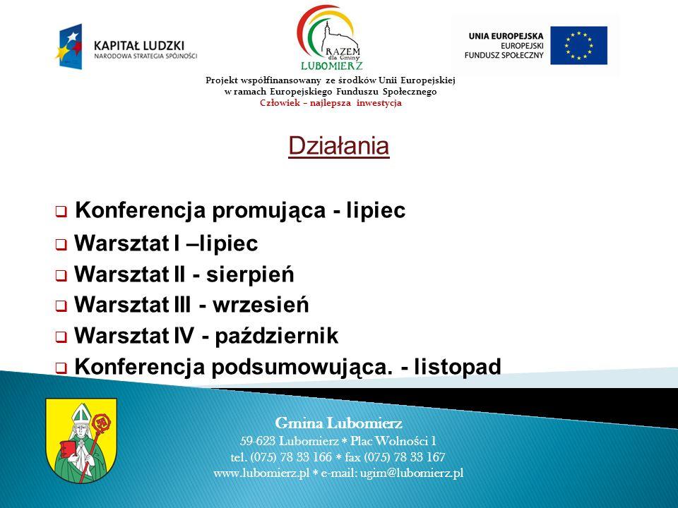 Działania Konferencja promująca - lipiec Warsztat I –lipiec Warsztat II - sierpień Warsztat III - wrzesień Warsztat IV - październik Konferencja podsu
