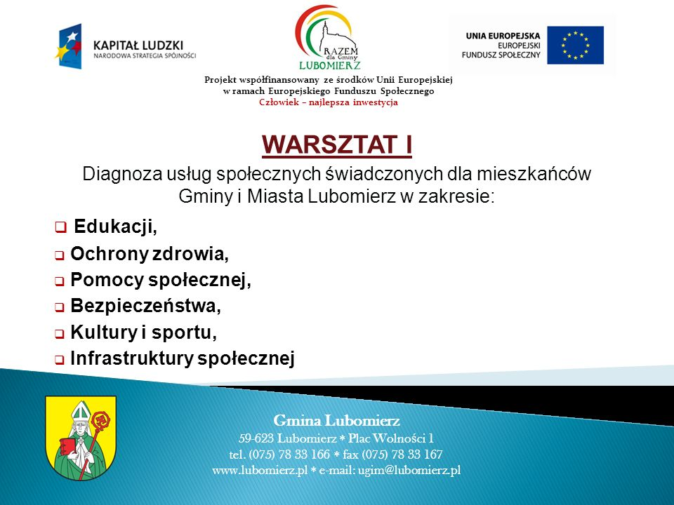 WARSZTAT I Diagnoza usług społecznych świadczonych dla mieszkańców Gminy i Miasta Lubomierz w zakresie: Edukacji, Ochrony zdrowia, Pomocy społecznej,