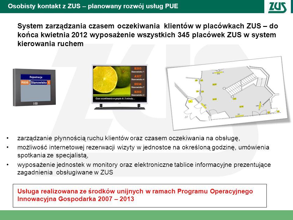 Osobisty kontakt z ZUS – planowany rozwój usług PUE System zarządzania czasem oczekiwania klientów w placówkach ZUS – do końca kwietnia 2012 wyposażen