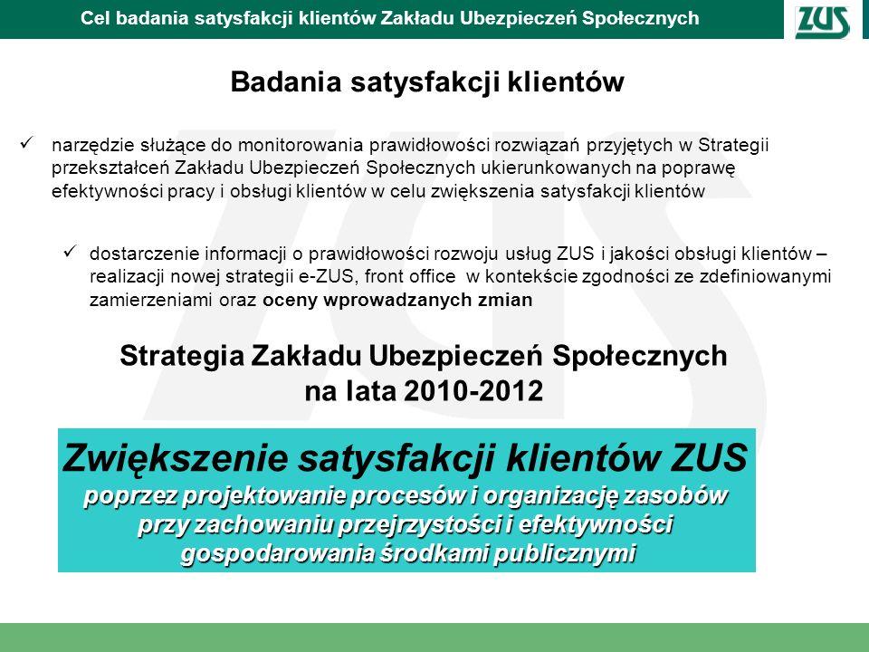 Cel badania satysfakcji klientów Zakładu Ubezpieczeń Społecznych Nowa strategia Zakładu realizowana jest przy udziale projektów współfinansowanych ze środków unijnych: 1.Program Operacyjny Kapitał Ludzki 2007-2013 Poprawa jakości usług świadczonych przez ZUS na rzecz przedsiębiorców, w tym m.in.