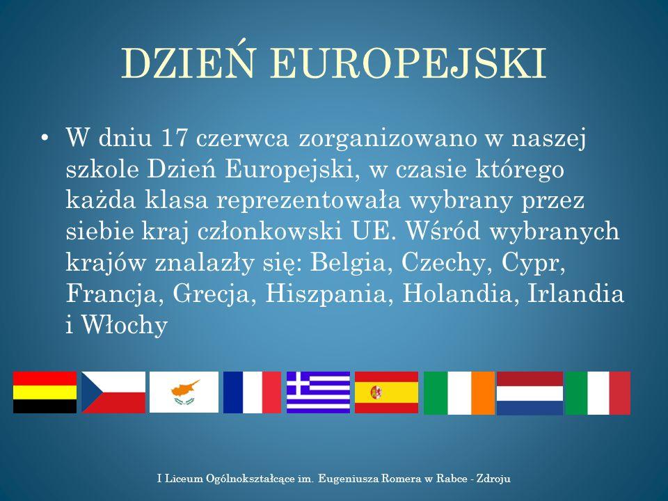 DZIEŃ EUROPEJSKI W dniu 17 czerwca zorganizowano w naszej szkole Dzień Europejski, w czasie którego każda klasa reprezentowała wybrany przez siebie kr