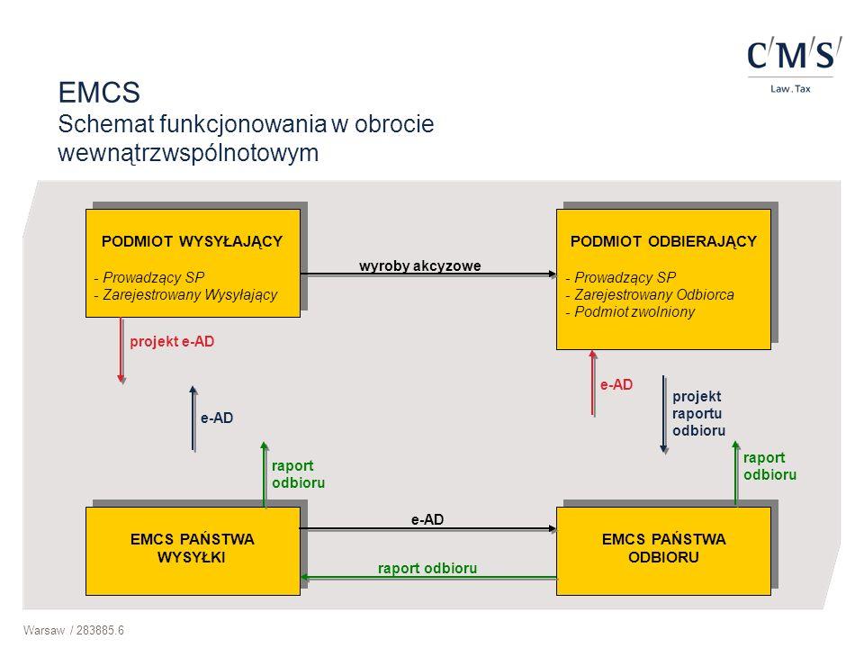 Warsaw / 283885.6 PODMIOT WYSYŁAJĄCY - Prowadzący SP - Zarejestrowany Wysyłający PODMIOT WYSYŁAJĄCY - Prowadzący SP - Zarejestrowany Wysyłający EMCS P