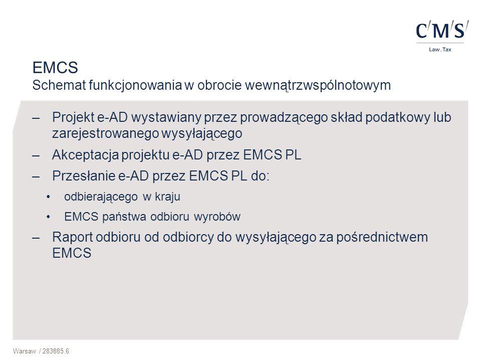 Warsaw / 283885.6 EMCS Schemat funkcjonowania w obrocie wewnątrzwspólnotowym –Projekt e-AD wystawiany przez prowadzącego skład podatkowy lub zarejestr