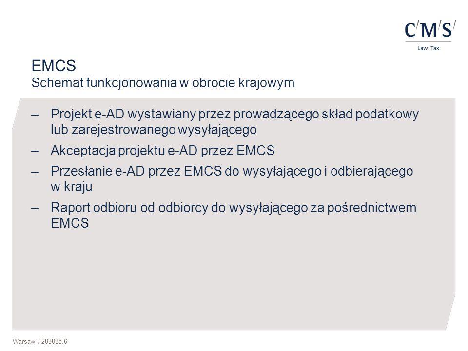 Warsaw / 283885.6 EMCS Schemat funkcjonowania w obrocie krajowym –Projekt e-AD wystawiany przez prowadzącego skład podatkowy lub zarejestrowanego wysy