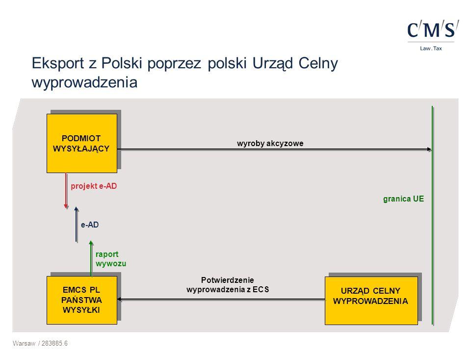 Warsaw / 283885.6 Eksport z Polski poprzez polski Urząd Celny wyprowadzenia PODMIOT WYSYŁAJĄCY EMCS PL PAŃSTWA WYSYŁKI projekt e-AD e-AD raport wywozu