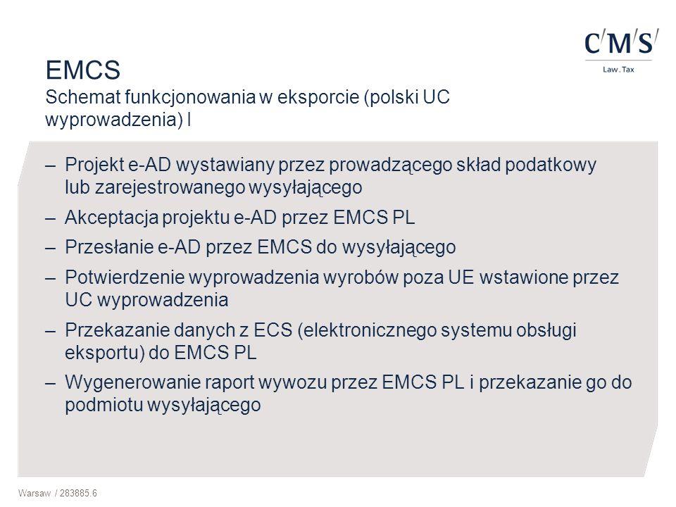 Warsaw / 283885.6 EMCS Schemat funkcjonowania w eksporcie (polski UC wyprowadzenia) I –Projekt e-AD wystawiany przez prowadzącego skład podatkowy lub