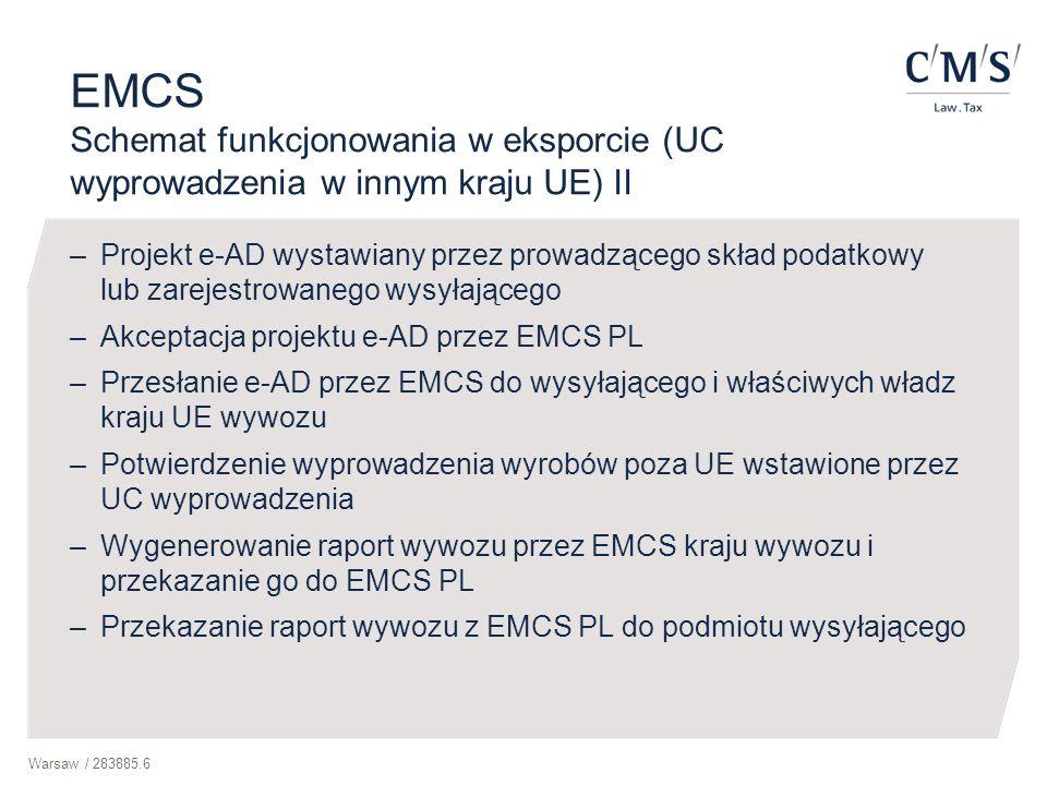 Warsaw / 283885.6 EMCS Schemat funkcjonowania w eksporcie (UC wyprowadzenia w innym kraju UE) II –Projekt e-AD wystawiany przez prowadzącego skład pod