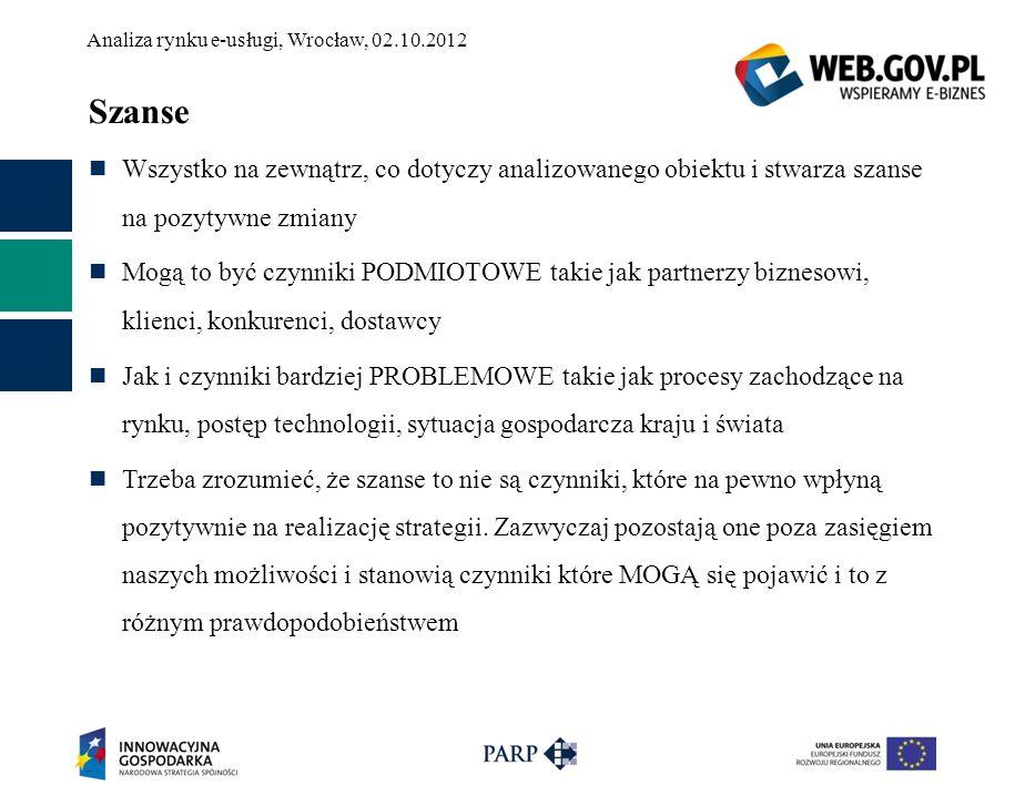 Analiza rynku e-usługi, Wrocław, 02.10.2012 Szanse Wszystko na zewnątrz, co dotyczy analizowanego obiektu i stwarza szanse na pozytywne zmiany Mogą to