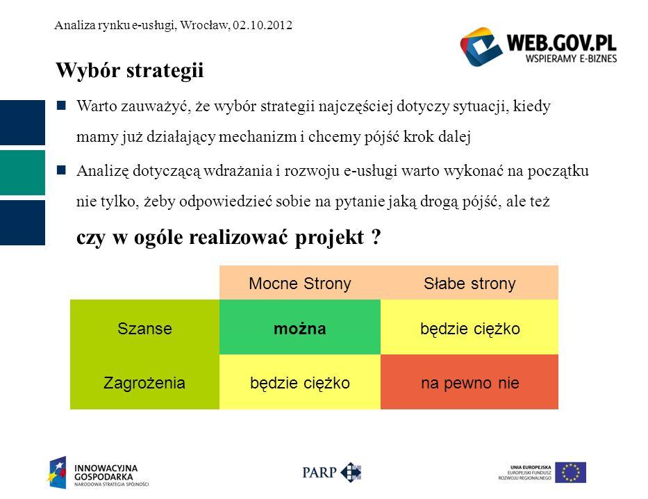 Analiza rynku e-usługi, Wrocław, 02.10.2012 Wybór strategii Warto zauważyć, że wybór strategii najczęściej dotyczy sytuacji, kiedy mamy już działający