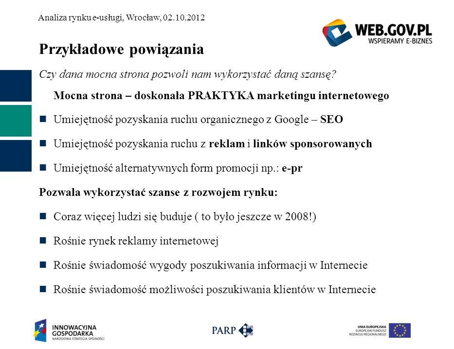 Analiza rynku e-usługi, Wrocław, 02.10.2012 Przykładowe powiązania Czy dana mocna strona pozwoli nam wykorzystać daną szansę? Mocna strona – doskonała