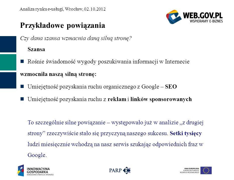 Analiza rynku e-usługi, Wrocław, 02.10.2012 Przykładowe powiązania Czy dana szansa wzmacnia daną silną stronę? Szansa Rośnie świadomość wygody poszuki