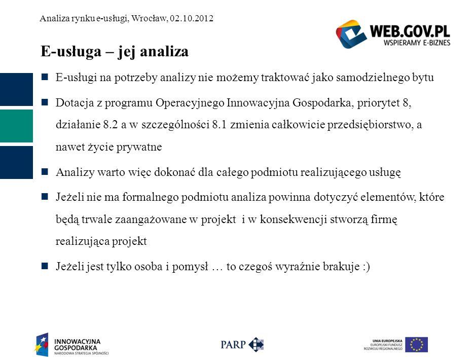 Analiza rynku e-usługi, Wrocław, 02.10.2012 E-usługa – jej analiza E-usługi na potrzeby analizy nie możemy traktować jako samodzielnego bytu Dotacja z