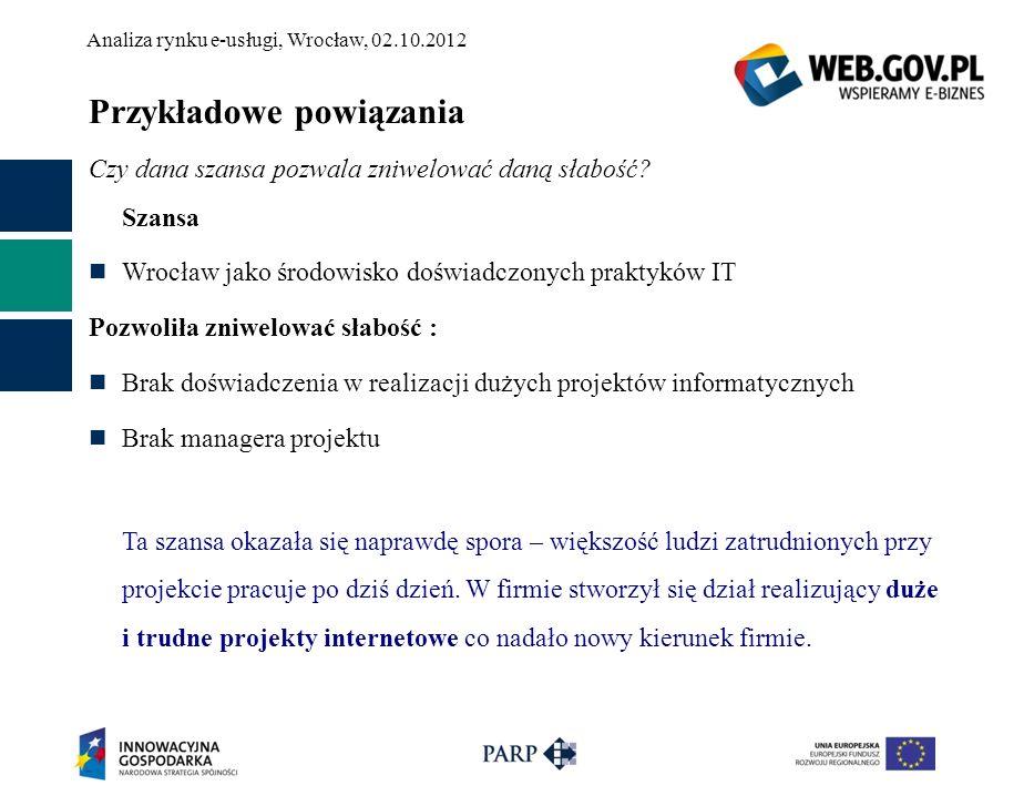 Analiza rynku e-usługi, Wrocław, 02.10.2012 Przykładowe powiązania Czy dana szansa pozwala zniwelować daną słabość? Szansa Wrocław jako środowisko doś