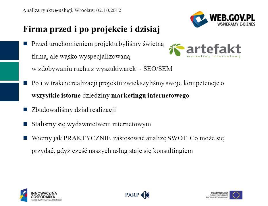 Analiza rynku e-usługi, Wrocław, 02.10.2012 Firma przed i po projekcie i dzisiaj Przed uruchomieniem projektu byliśmy świetną firmą, ale wąsko wyspecj