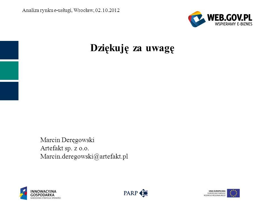 Analiza rynku e-usługi, Wrocław, 02.10.2012 Dziękuję za uwagę Marcin Deręgowski Artefakt sp. z o.o. Marcin.deregowski@artefakt.pl