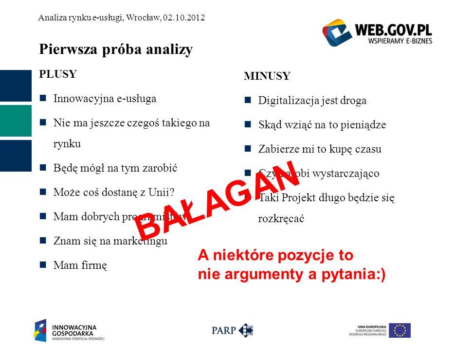 Analiza rynku e-usługi, Wrocław, 02.10.2012 Pierwsza próba analizy PLUSY Innowacyjna e-usługa Nie ma jeszcze czegoś takiego na rynku Będę mógł na tym