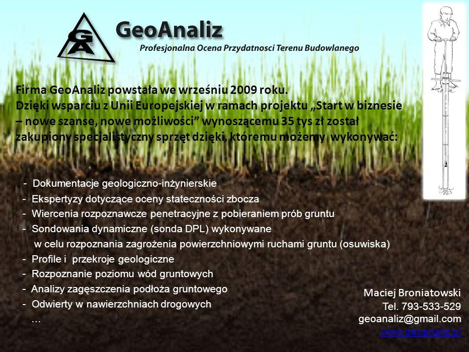 Firma GeoAnaliz powstała we wrześniu 2009 roku. Dzięki wsparciu z Unii Europejskiej w ramach projektu Start w biznesie – nowe szanse, nowe możliwości