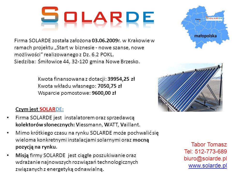 Czym jest SOLARDE: Firma SOLARDE jest instalatorem oraz sprzedawcą kolektorów słonecznych: Viessmann, WATT, Vaillant. Mimo krótkiego czasu na rynku SO