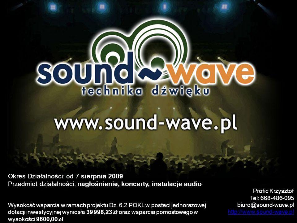 Okres Działalności: od 7 sierpnia 2009 Przedmiot działalności: nagłośnienie, koncerty, instalacje audio Wysokość wsparcia w ramach projektu Dz. 6.2 PO