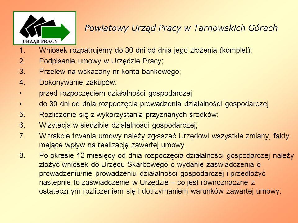 Powiatowy Urząd Pracy w Tarnowskich Górach 1.Wniosek rozpatrujemy do 30 dni od dnia jego złożenia (komplet); 2.Podpisanie umowy w Urzędzie Pracy; 3.Pr
