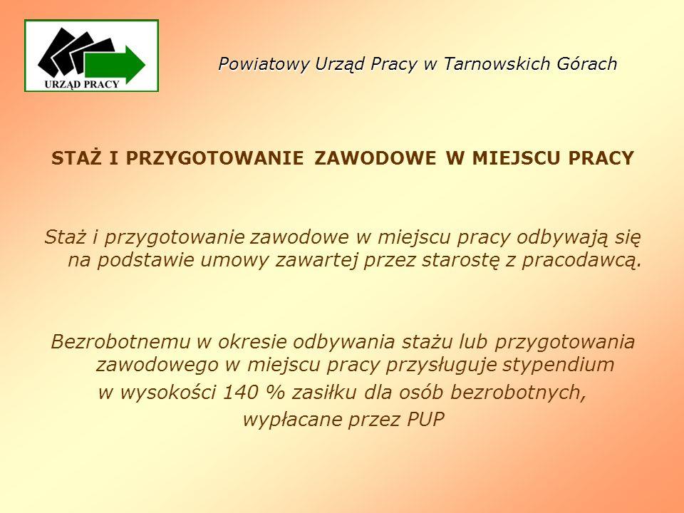 Powiatowy Urząd Pracy w Tarnowskich Górach STAŻ I PRZYGOTOWANIE ZAWODOWE W MIEJSCU PRACY Staż i przygotowanie zawodowe w miejscu pracy odbywają się na