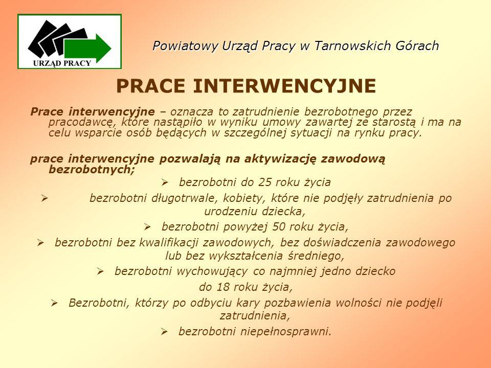 Powiatowy Urząd Pracy w Tarnowskich Górach PRACE INTERWENCYJNE Prace interwencyjne – oznacza to zatrudnienie bezrobotnego przez pracodawcę, które nast
