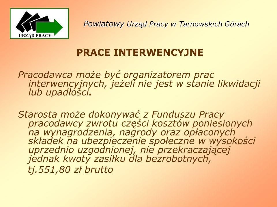 Powiatowy Urząd Pracy w Tarnowskich Górach PRACE INTERWENCYJNE Pracodawca może być organizatorem prac interwencyjnych, jeżeli nie jest w stanie likwid