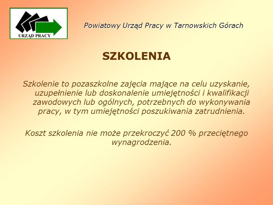 Powiatowy Urząd Pracy w Tarnowskich Górach SZKOLENIA Szkolenie to pozaszkolne zajęcia mające na celu uzyskanie, uzupełnienie lub doskonalenie umiejętn
