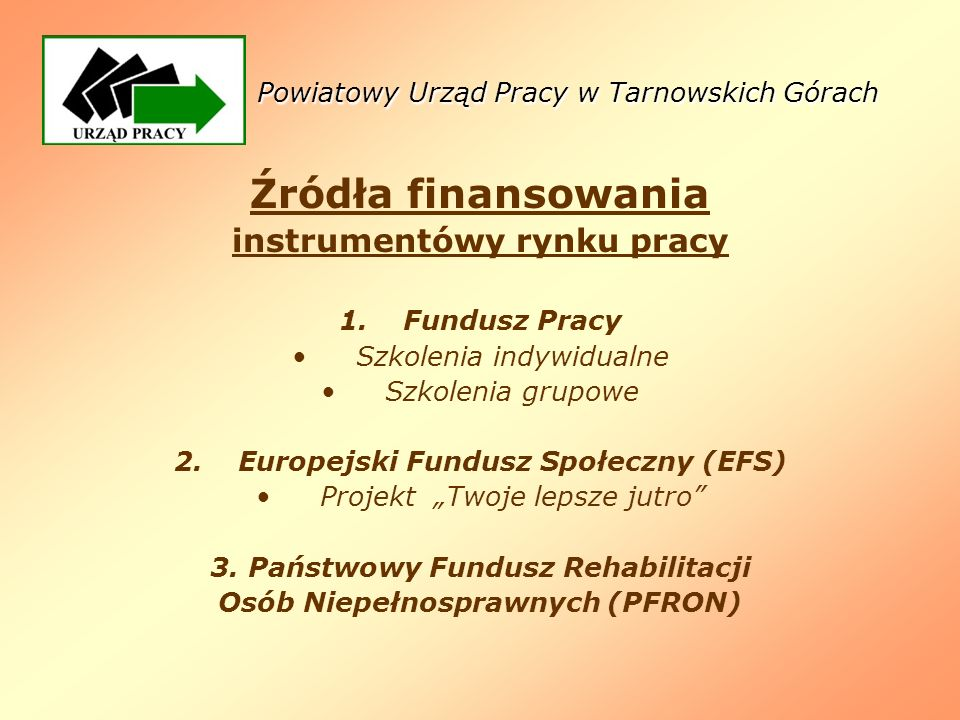 Źródła finansowania instrumentówy rynku pracy 1.Fundusz Pracy Szkolenia indywidualne Szkolenia grupowe 2.Europejski Fundusz Społeczny (EFS) Projekt Tw