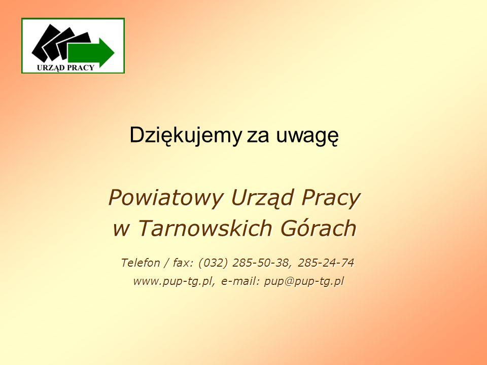 Dziękujemy za uwagę Powiatowy Urząd Pracy w Tarnowskich Górach Telefon / fax: (032) 285-50-38, 285-24-74 www.pup-tg.pl, e-mail: pup@pup-tg.pl www.pup-