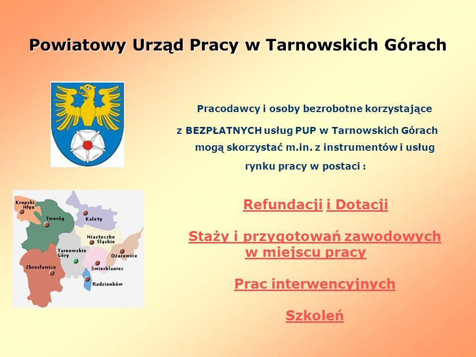 Powiatowy Urząd Pracy w Tarnowskich Górach Pracodawcy i osoby bezrobotne korzystające z BEZPŁATNYCH usług PUP w Tarnowskich Górach mogą skorzystać m.i