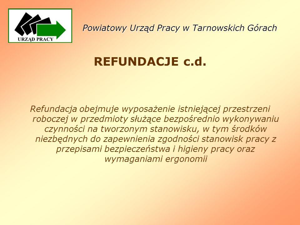 Powiatowy Urząd Pracy w Tarnowskich Górach REFUNDACJE c.d. Refundacja obejmuje wyposażenie istniejącej przestrzeni roboczej w przedmioty służące bezpo