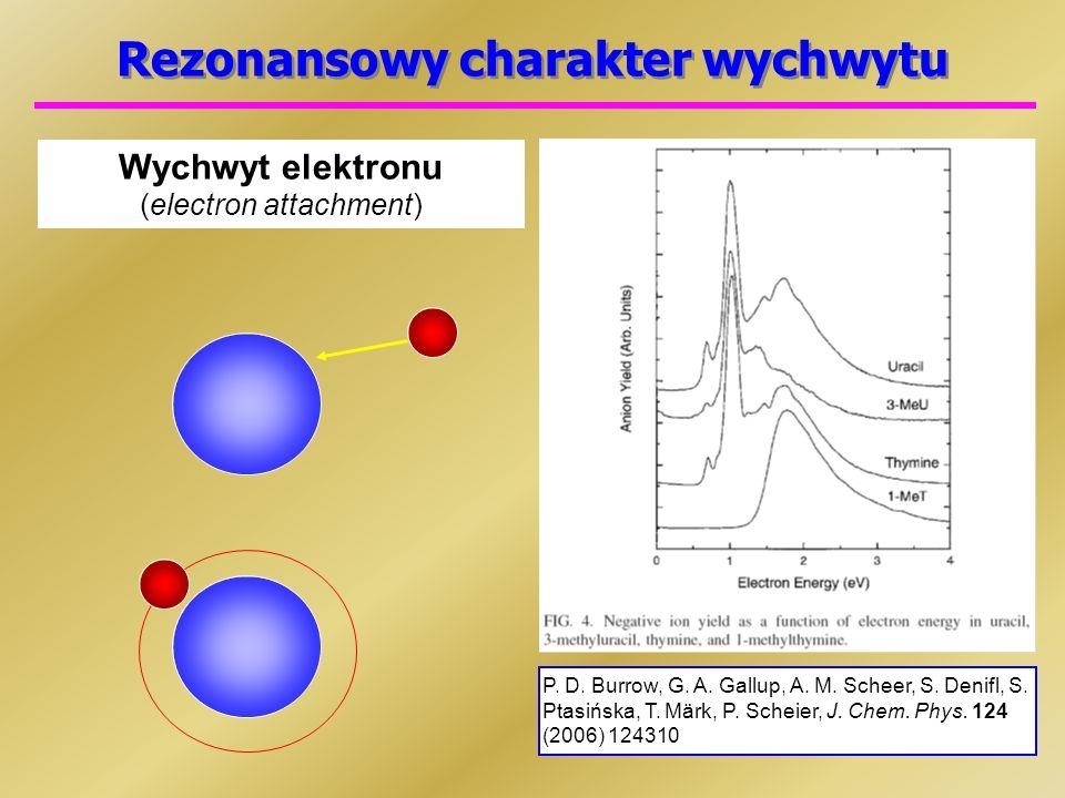 Rezonansowy charakter wychwytu Wychwyt elektronu (electron attachment) P.