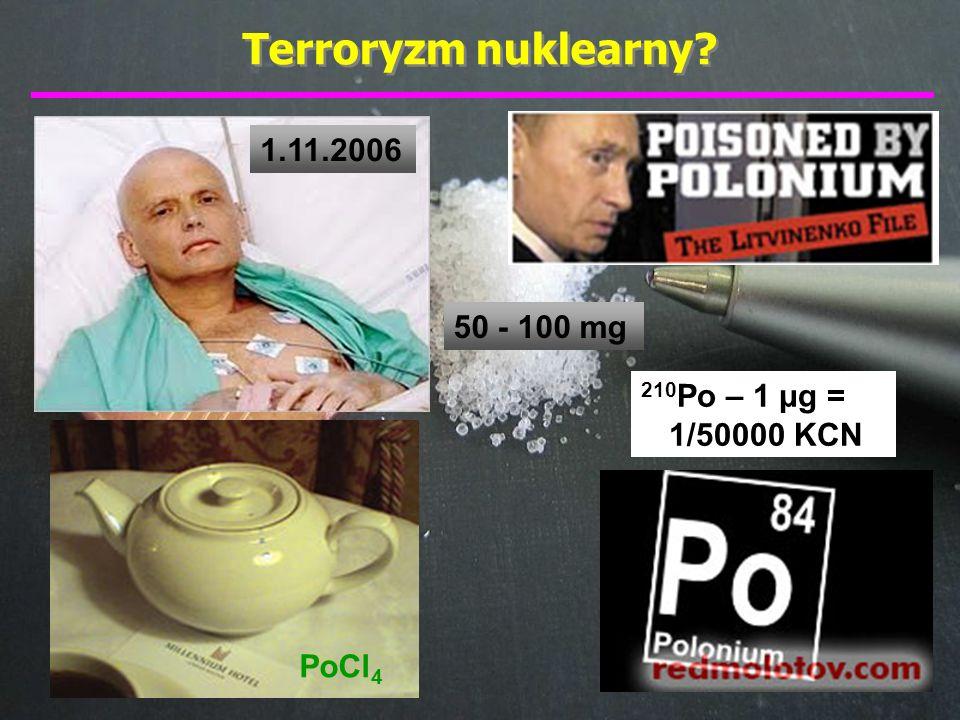 Polon (polonium) – polski pierwiastek Polon: 1898 – rok odkrycia 209 Po 33 izotopy 7·10 -12 g w ciele człowieka 10 -16 g = dzienne wydalanie izotop 210 Po: 1 μg = 10 -6 g = 170.000.000 α/s 1 α ~ 5 MeV = 5.000.000 eV τ 1/2 = 138 dni Warszawa, ul.