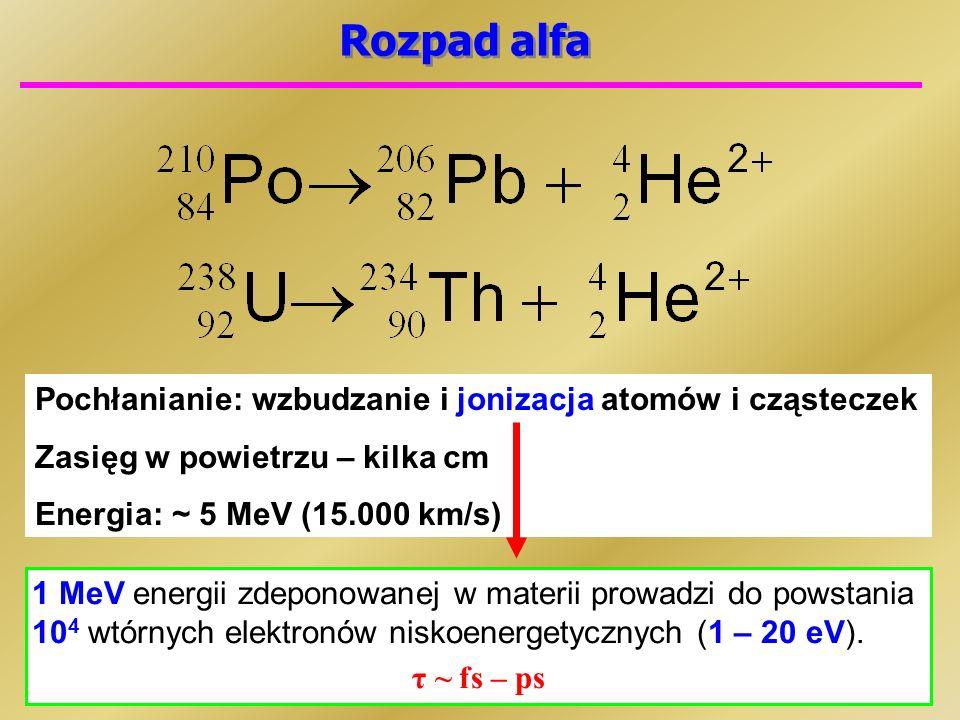 Rozpad alfa Pochłanianie: wzbudzanie i jonizacja atomów i cząsteczek Zasięg w powietrzu – kilka cm Energia: ~ 5 MeV (15.000 km/s) 1 MeV energii zdeponowanej w materii prowadzi do powstania 10 4 wtórnych elektronów niskoenergetycznych (1 – 20 eV).