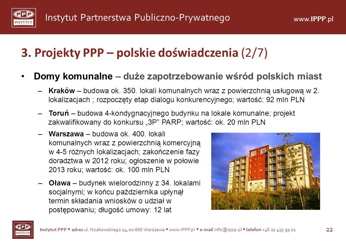 Instytut PPP adres ul. Noakowskiego 24, 00-668 Warszawa www.IPPP.pl e-mail info@ippp.pl telefon +48 22 435 95 02 22 Instytut Partnerstwa Publiczno-Pry