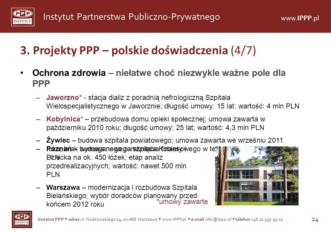 Instytut PPP adres ul. Noakowskiego 24, 00-668 Warszawa www.IPPP.pl e-mail info@ippp.pl telefon +48 22 435 95 02 24 Instytut Partnerstwa Publiczno-Pry